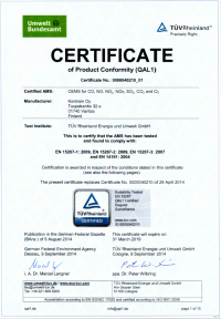 QAL1 certificated continuous emission monitoring system